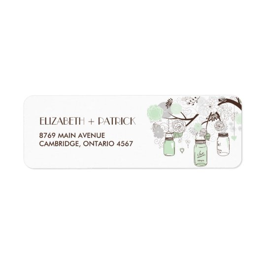 Mint Green Mason Jars Floral Wedding Address Label