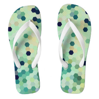Mint Green Mermaid Fish Scales Tone Octagon Flip Flops