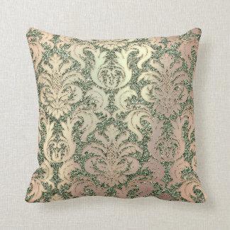 Mint Green Metal Damask Rose Salmon Pearl Glitter Throw Pillow