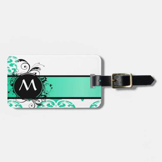 Mint green monogram damask luggage tag
