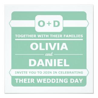 Mint Green Monogram Wedding Invitations