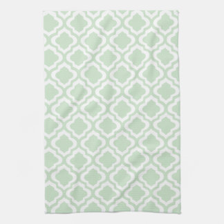 Mint Green Moroccan Quatrefoil Clover Kitchen Towel