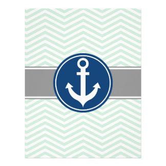 Mint Green Nautical Anchor Chevron Letterhead Template