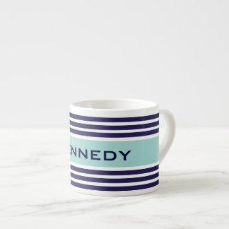 Mint Green & Navy Blue Stripes Custom Monogram