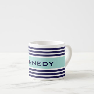Mint Green & Navy Blue Stripes Custom Monogram Espresso Cup