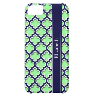 Mint Green, Navy Moroccan #5DS Navy Name Monogram Cover For iPhone 5C