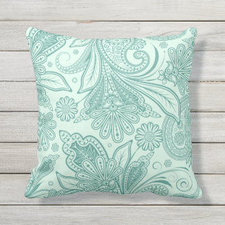 Mint Green Ornate Ethnic Floral Paisley Outdoor Pillow