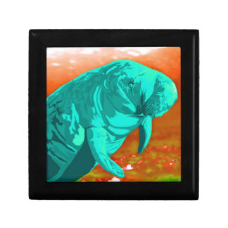 Mint green painted Manatee art Gift Boxes