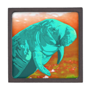 Mint green painted Manatee art Premium Trinket Box