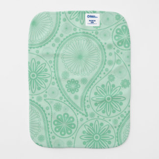 Mint green paisley pattern burp cloths