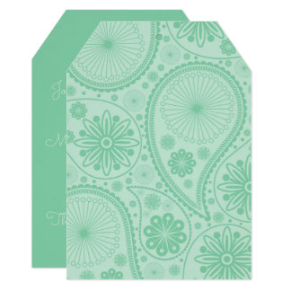 Mint green paisley pattern card