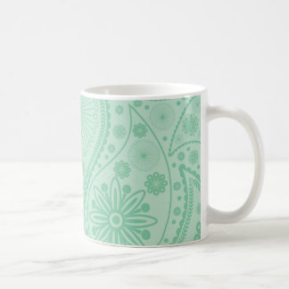 Mint green paisley pattern coffee mug