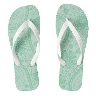Mint green paisley pattern flip flops