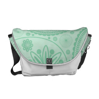 Mint green paisley pattern messenger bags