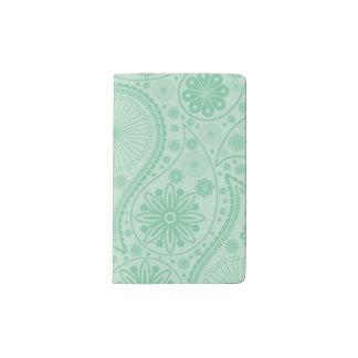 Mint green paisley pattern pocket moleskine notebook