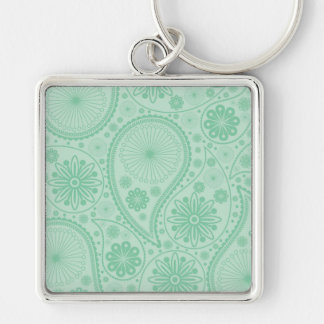 Mint green paisley pattern Silver-Colored square keychain