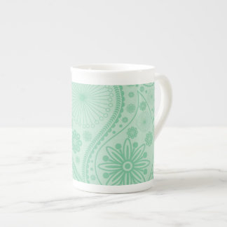 Mint green paisley pattern tea cup