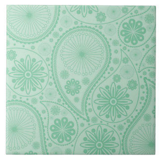 Mint green paisley pattern tile