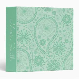 Mint green paisley pattern vinyl binder