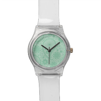 Mint green paisley pattern wrist watches
