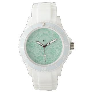 Mint green paisley pattern wristwatches