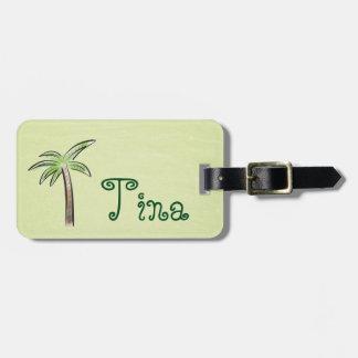 Mint Green Palm Tree Luggage Tag