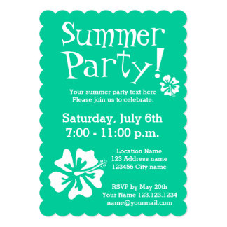 Mint green party invitations with floral design