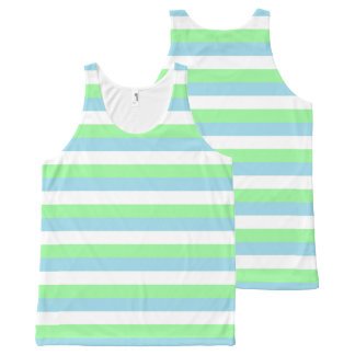 Mint Green, Pastel Blue and White Stripes All-Over-Print Tank Top