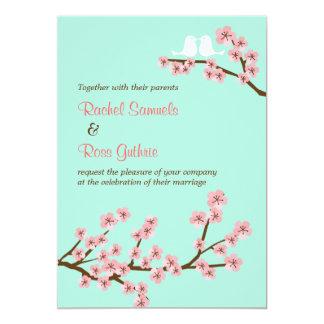 Mint Green & Pink Cherry Blossom Modern Wedding Card