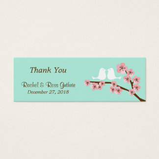 Mint Green & Pink Cherry Blossom Modern Wedding Mini Business Card