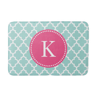 Mint Green Pink Custom Monogram Quatrefoil Pattern Bath Mat