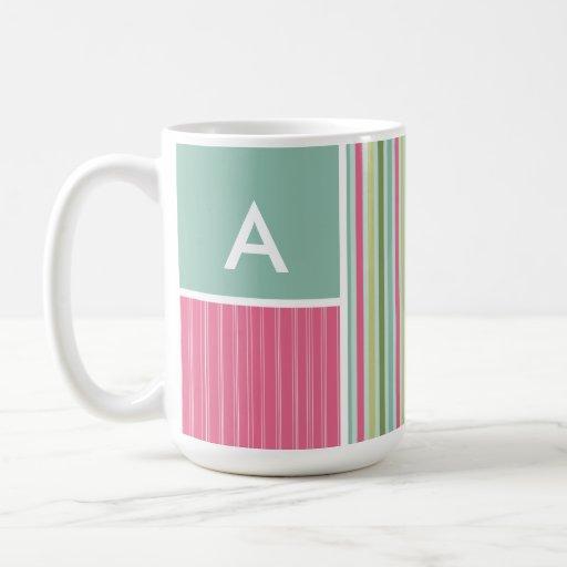 Mint Green & Pink Stripes Mugs