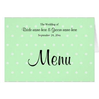 Mint Green Polka Dot Pattern. Wedding Menu Card