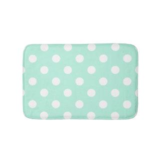 Mint green polka dots bathroom rug