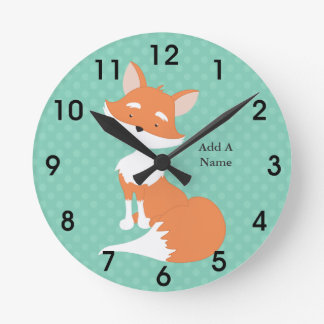 Mint Green Polka-Dots•Woodland Fox•Custom Round Clock