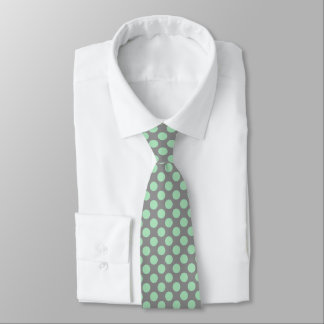 Mint-Green PolkaDots Patter Custom Gray Background Tie