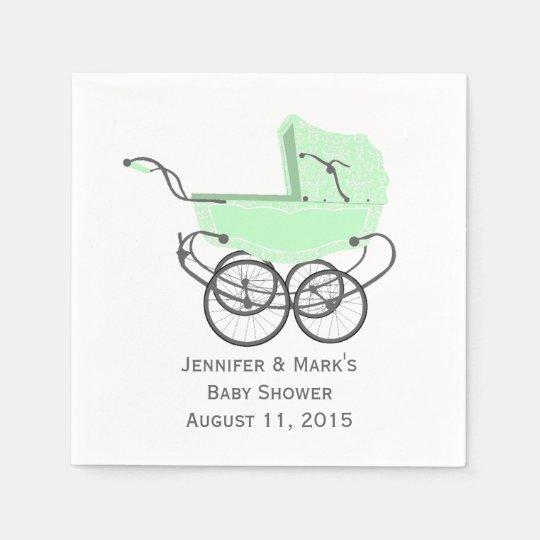 Mint Green Pram Custom Baby Shower Paper Napkins