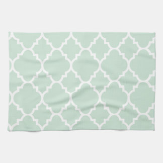 Mint Green Quatrefoil Moroccan Pattern Kitchen Towel