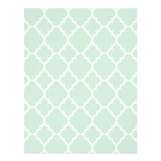 Mint Green Quatrefoil Moroccan Pattern Letterhead