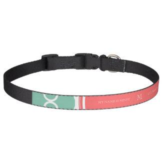 Mint Green Quatrefoil Pattern, Coral Monogram Pet Collar