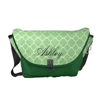 Mint Green Quatrefoil Pattern Monogram Messenger Bag