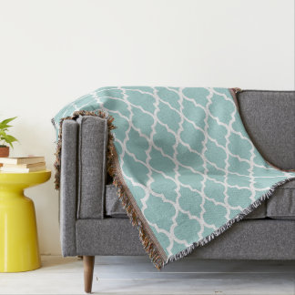 Mint Green Quatrefoil Tiles Pattern Throw Blanket