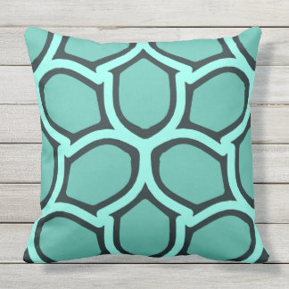 Mint green retro elegance outdoor pillow