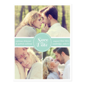 Mint Green Retro Photo Save the Date Postcard