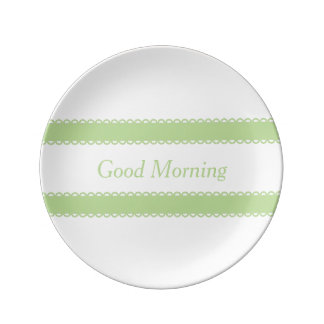Mint Green Ribbons on White Personalized Plate