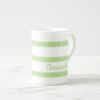 Mint Green Ribbons Personalized Tea Cup