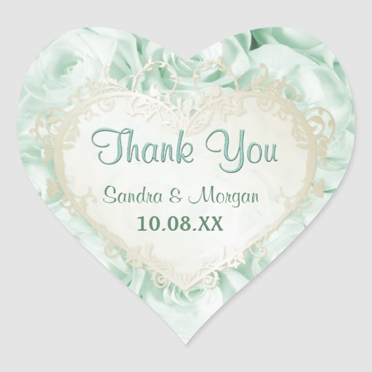 Mint Green Rose Elegance -  Thank You Heart Sticker