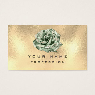 Mint Green Rose Metallic Glam Champagne Gold Business Card
