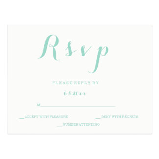 Mint green script wedding rsvp postcards