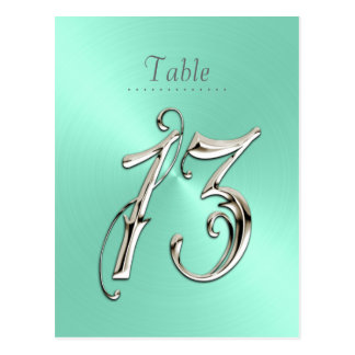 Mint Green Sheen Table Number 13 Postcard